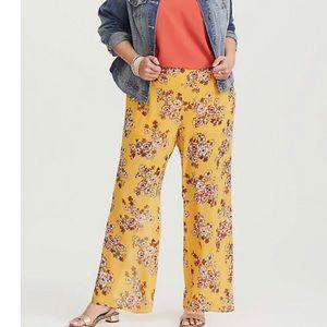 Torrid Yellow Floral Chiffon Pant
